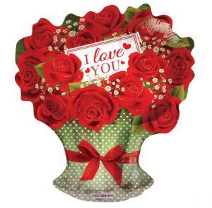 Rode rozen folie ballon 45 cm