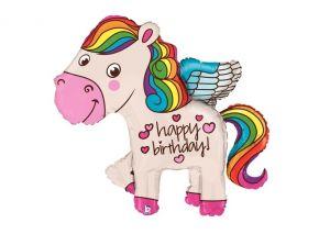 Regenboog Happy Birthday paardje 114 cm