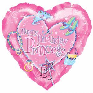 Happy birthday princess hartvorm 45 cm