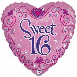 Sweet 16 hartvormig folieballon 46 cm