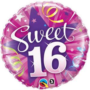 Sweet 16 ronde folieballon 46 cm