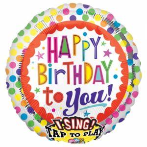 Muziekballon happy birthday 71 cm