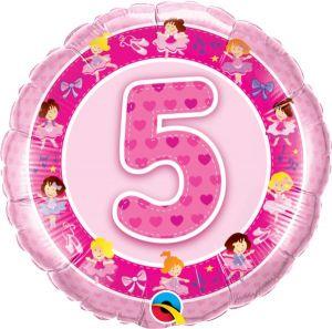 Folieballon 5 jaar roze (45 cm)