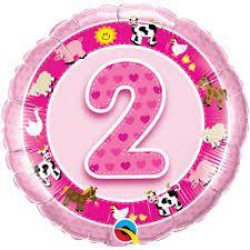 Folieballon 2 jaar roze (45 cm)