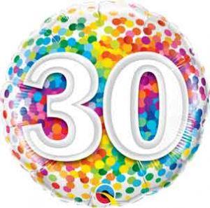 Folieballon 30 jaar (45 cm)
